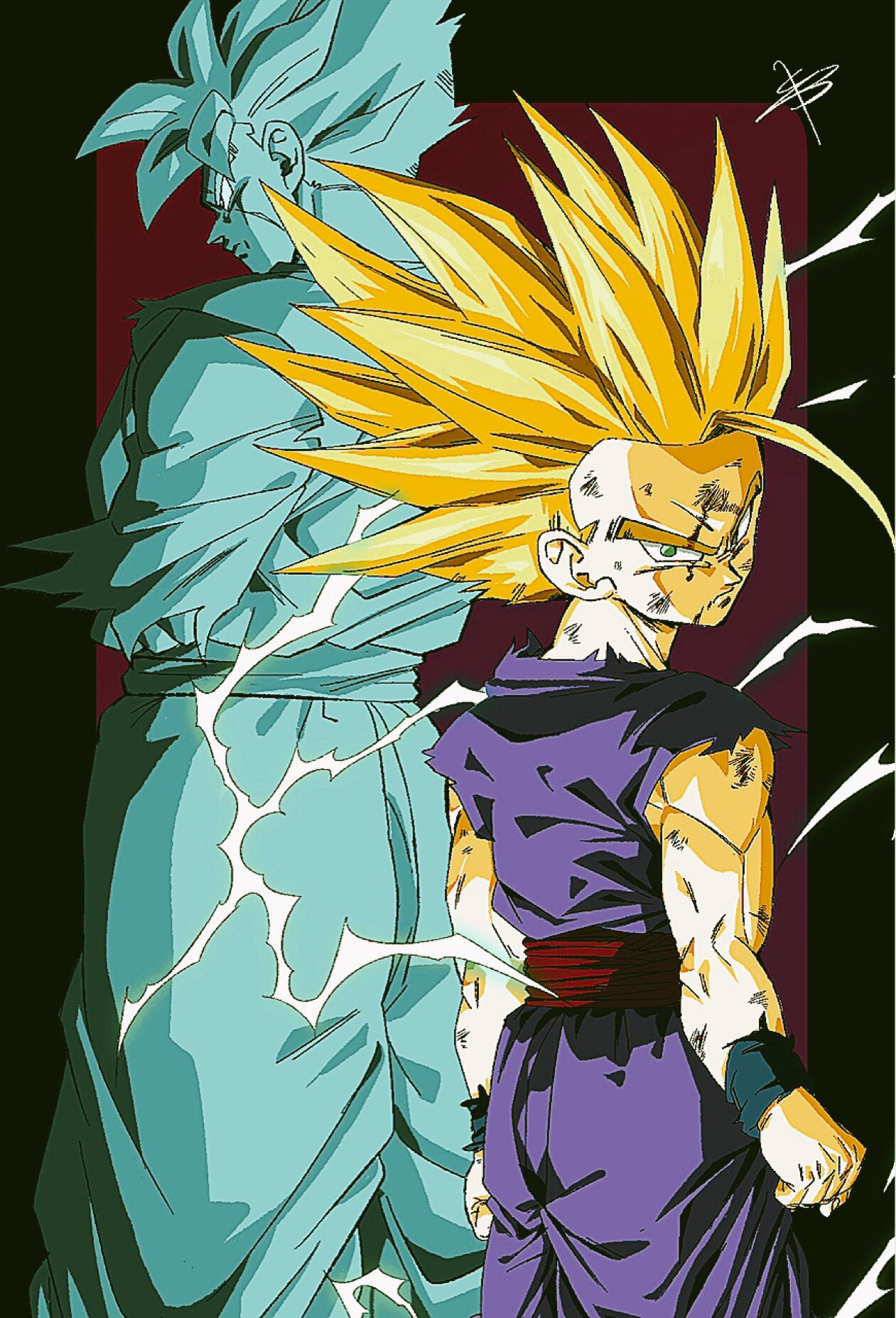 2boys age_difference arms_at_sides backlighting blonde_hair clenched_hands dark_background dirty dirty_face dougi dragon_ball dragon_ball_z dual_persona electricity facial_scar feet_out_of_frame fingernails green_eyes height_difference highres looking_at_viewer looking_away looking_back male_focus messy_hair multiple_boys rectangle red_background reeya scar scar_on_cheek serious shaded_face signature son_gohan son_gohan_(future) spiky_hair standing super_saiyan_2 wristband