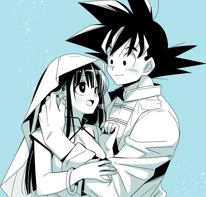 1boy 1girl :d aqua_background aqua_theme bangs black_eyes black_hair blanket blunt_bangs bracelet chi-chi_(dragon_ball) china_dress chinese_clothes couple dragon_ball dress fingernails hand_on_another's_head happy height_difference hetero hime_cut jewelry kanekiyo_miwa long_hair long_sleeves looking_at_another looking_down monochrome open_mouth shaded_face shiny shiny_hair sidelocks simple_background smile son_gokuu sparkle_background spiky_hair spot_color standing under_covers upper_body