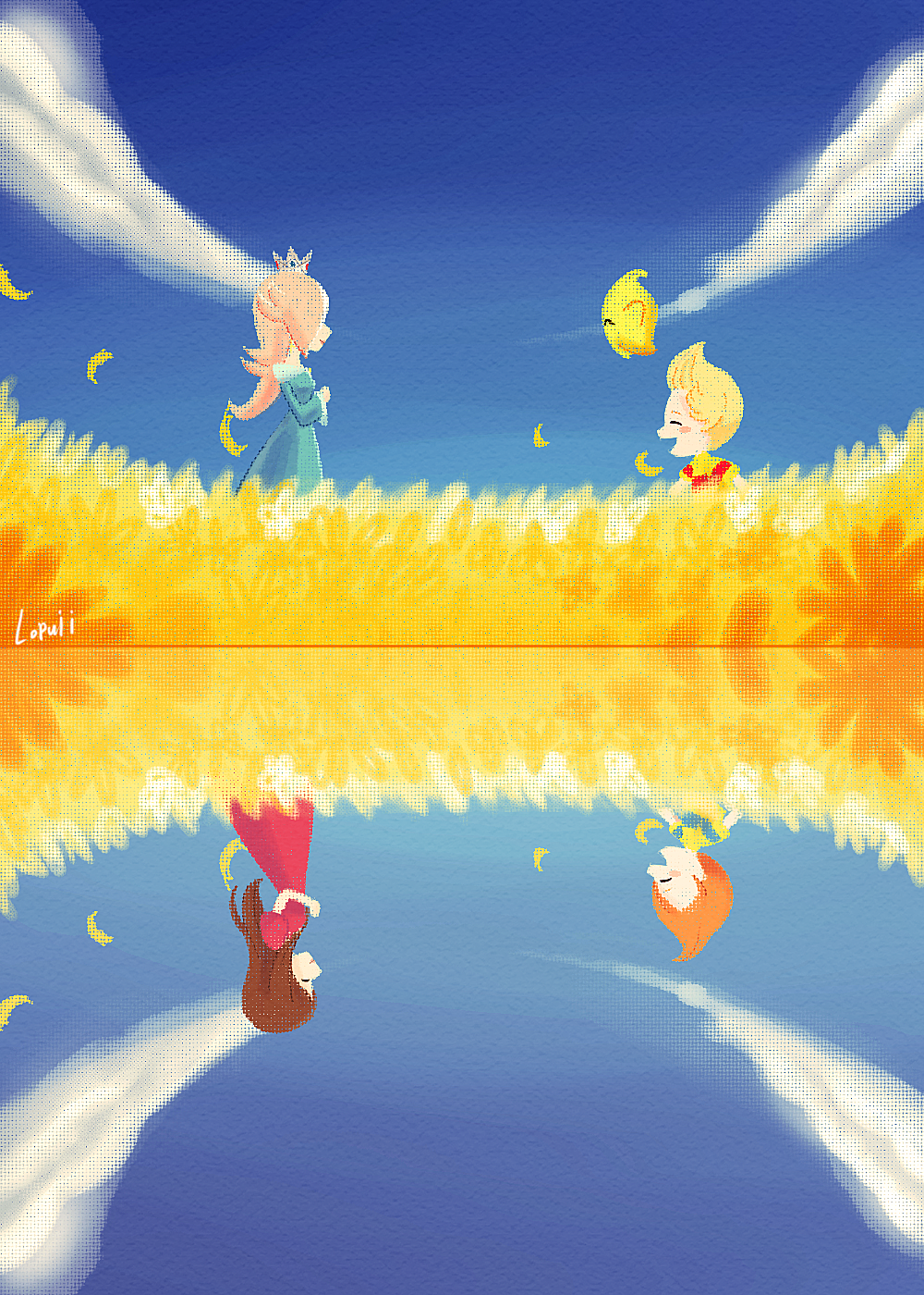 1other 2boys 2girls abstract adult ape_(company) artist_name blonde_hair blue_dress blue_sky brown_hair brownie_brown chiko_(mario) child claus closed_eyes clouds commentary crown deviantart_username dress earthbound english_commentary field flower flower_field hal_laboratory_inc. happy highres hinawa kid long_hair lopuii lucas luma mario_(series) mother_(game) mother_3 mother_and_son motherly multiple_boys multiple_girls multiple_views nintendo nintendo_ead open_mouth orange_hair petals princess red_dress rosalina signature sky smile sora_(company) star sunflower sunflower_petals super_mario_galaxy super_smash_bros. super_smash_bros._ultimate super_smash_bros_brawl super_smash_bros_for_wii_u_and_3ds upside-down watermark