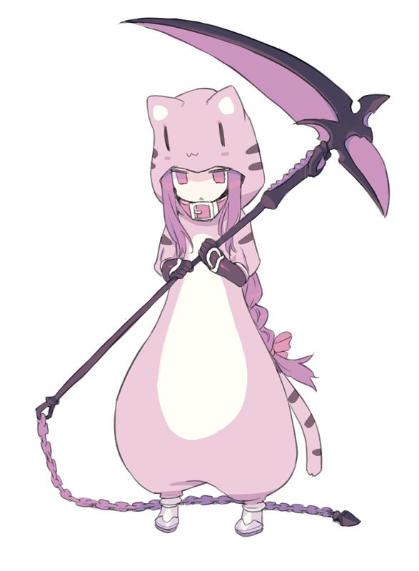 1girl animal_costume animal_ears animal_print black_gloves blade_(galaxist) bow braid chain collar commentary_request cosplay fake_animal_ears fate/grand_order fate_(series) full_body gloves hair_bow holding holding_scythe hood hood_up jaguarman_(fate/grand_order) jaguarman_(fate/grand_order)_(cosplay) long_hair medusa_(lancer)_(fate) parted_lips purple_hair red_bow red_collar rider scythe sidelocks simple_background single_braid solo standing tail tiger_costume tiger_ears tiger_girl tiger_hood tiger_print tiger_tail vambraces very_long_hair violet_eyes white_background