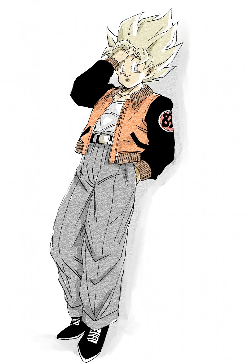 1boy alternate_color alternate_eye_color belt black_footwear blonde_hair casual commentary_request dragon_ball dragon_ball_z dutch_angle fenyon full_body grey_eyes grey_pants hand_in_hair hand_in_pocket happy jacket leaning leaning_back looking_away male_focus number pants pectorals shadow shirt simple_background smile son_gokuu spiky_hair standing super_saiyan twitter_username white_background white_shirt