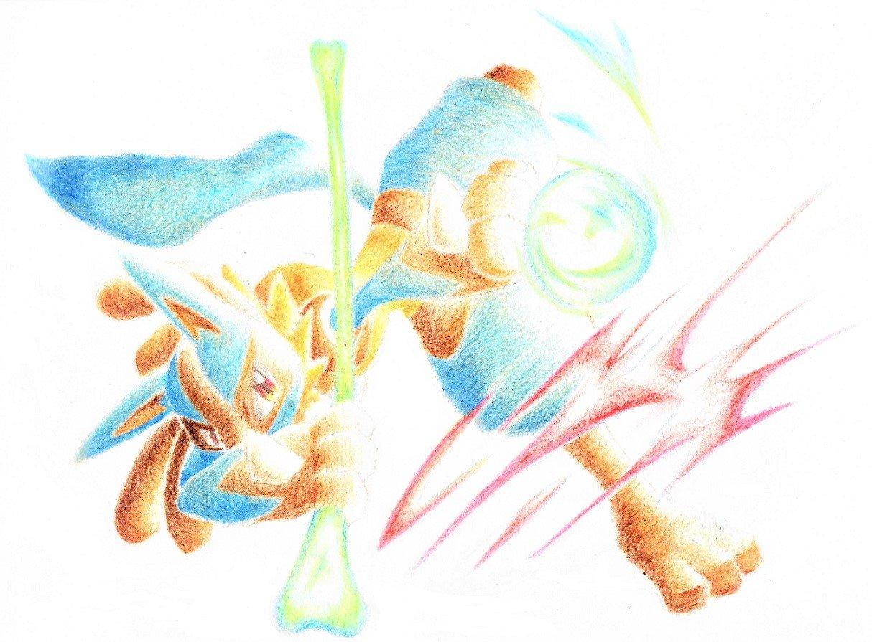 aura_sphere_(pokemon) blue_fur bone gen_4_pokemon lucario no_humans pokemon pokemon_(game) pokemon_dppt red_eyes spikes