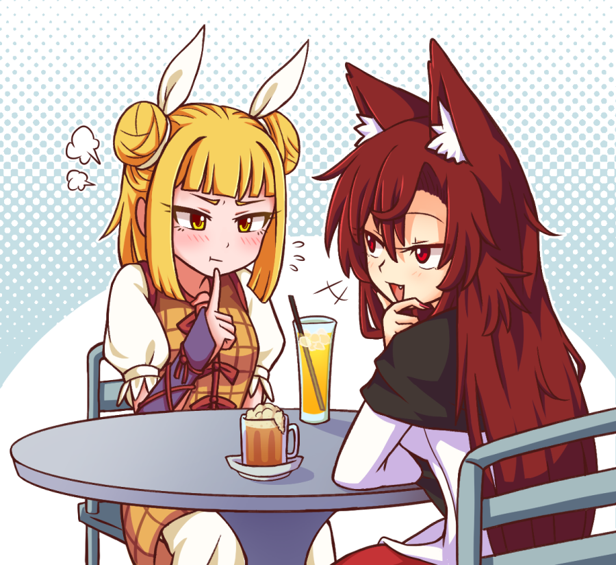 2girls :d :t =3 animal_ear_fluff animal_ears bangs beer_mug blonde_hair blue_background blush breasts brown_hair chair commentary cup double_bun dress drinking_glass drinking_straw english_commentary eyelashes fang feet_out_of_frame finger_to_chin flying_sweatdrops from_behind hair_between_eyes hair_ribbon halftone halftone_background hand_up ice ice_cube imaizumi_kagerou joutouguu_mayumi long_sleeves looking_at_another multiple_girls nail_polish open_mouth puffy_short_sleeves puffy_sleeves red_eyes red_nails ribbon shirt short_hair short_sleeves sitting small_breasts smile table touhou upper_body vambraces white_background white_dress white_ribbon white_shirt wolf_ears wool_(miwol) yellow_dress yellow_eyes
