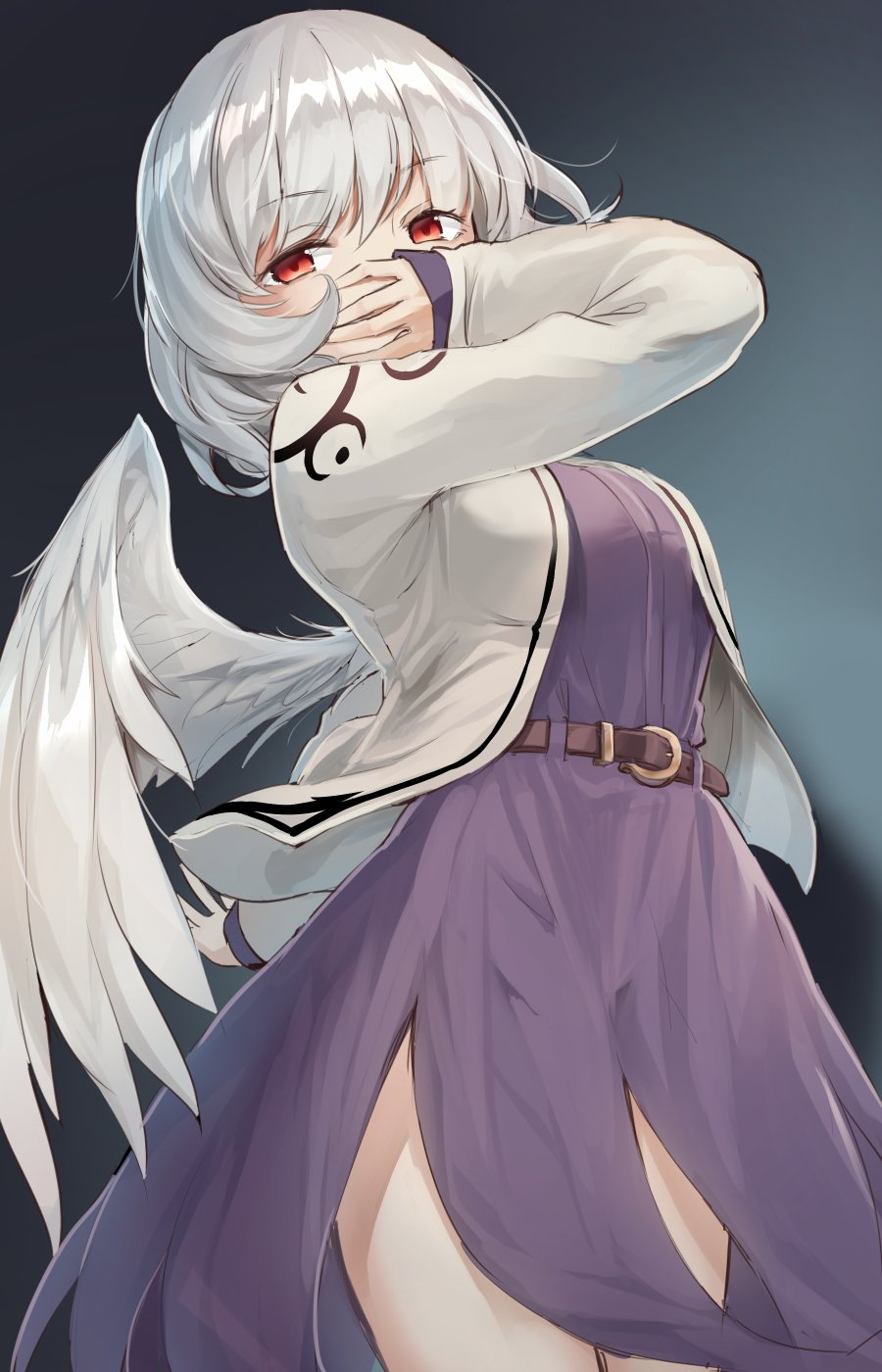 1girl arm_up bangs belt breasts brown_belt commentary_request cowboy_shot dress eyebrows_visible_through_hair feathered_wings grey_background grey_jacket highres jacket kishin_sagume looking_at_viewer medium_breasts open_clothes open_jacket purple_dress red_eyes short_hair silver_hair single_wing solo standing touhou usotsuki_penta white_wings wings