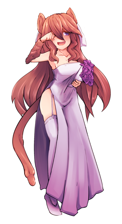 1girl :d animal_ears bangs borrowed_character bouquet breasts bridal_veil bride brown_fur brown_hair collarbone commentary dormouse_(monster_girl_encyclopedia) dress english_commentary flower full_body fur garter_straps hair_between_eyes holding holding_bouquet long_hair looking_at_viewer monster_girl_encyclopedia mouse_ears mouse_girl mouse_tail nanostar open_mouth original outline rubbing_eyes side_slit small_breasts smile solo strapless strapless_dress tail thigh-highs transparent_background veil vellu_(geenymous) violet_eyes wedding_dress white_dress white_garter_straps white_legwear white_outline