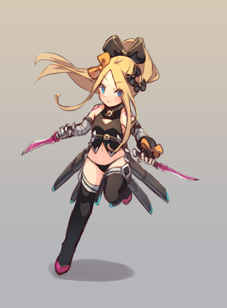 1girl abigail_williams_(fate/grand_order) bandaged_arm bandages bangs bare_shoulders black_bow black_footwear black_gloves black_legwear black_panties black_shirt blonde_hair blue_eyes blush boots bow brown_background closed_mouth cosplay dagger dual_wielding fate/apocrypha fate/grand_order fate_(series) fingerless_gloves full_body gloves gradient gradient_background grey_background hair_between_eyes high_ponytail holding holding_dagger holding_weapon jack_the_ripper_(fate/apocrypha) jack_the_ripper_(fate/apocrypha)_(cosplay) long_hair looking_at_viewer miya_(pixiv15283026) navel orange_bow panties parted_bangs ponytail shadow sheath shirt shoulder_tattoo sidelocks single_glove sleeveless sleeveless_shirt solo standing standing_on_one_leg tattoo thigh-highs thigh_boots underwear unsheathed v-shaped_eyebrows very_long_hair weapon