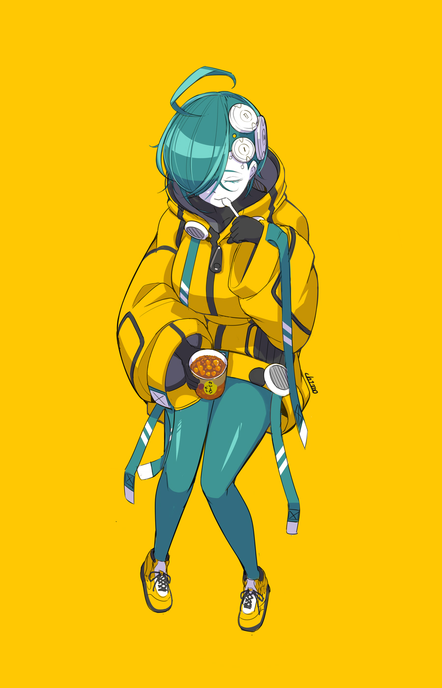 1girl ahoge aqua_hair aqua_legwear black_gloves breasts closed_eyes eating food full_body gloves hair_over_one_eye highres holding holding_food invisible_chair large_breasts original pale_skin shoes short_hair simple_background sitting solo spoon ub1mo yellow_background yellow_footwear zipper_pull_tab