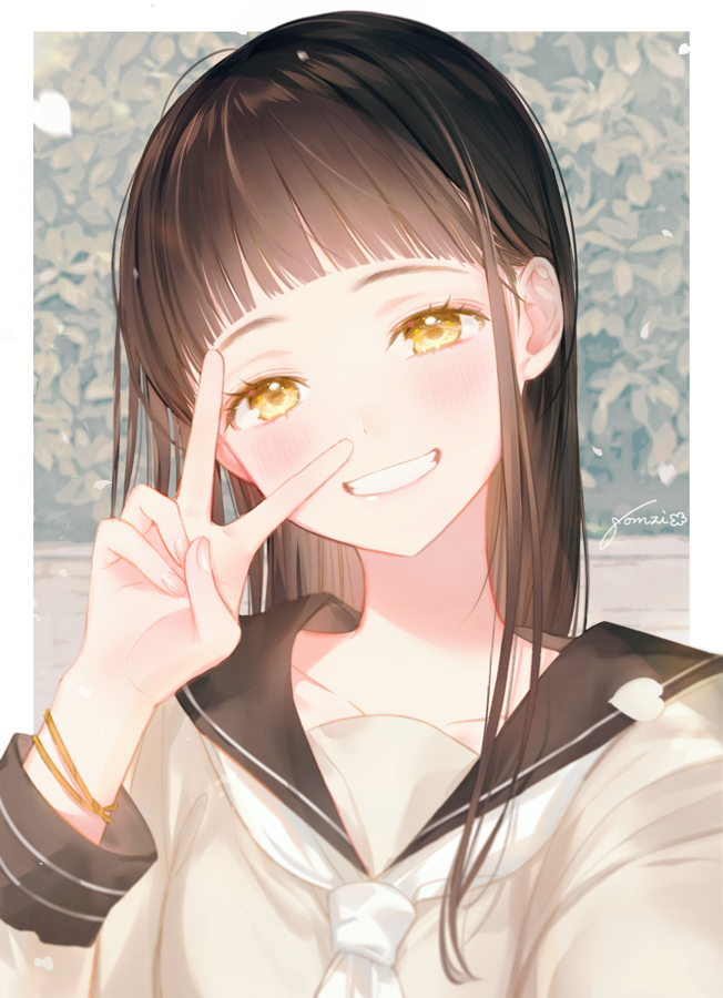 1girl bangle black_hair black_sailor_collar blurry blurry_background blush bracelet brown_eyes collarbone depth_of_field gomzi grin hand_up head_tilt jewelry long_hair long_sleeves original petals sailor_collar shirt signature smile solo upper_body v white_neckwear white_shirt