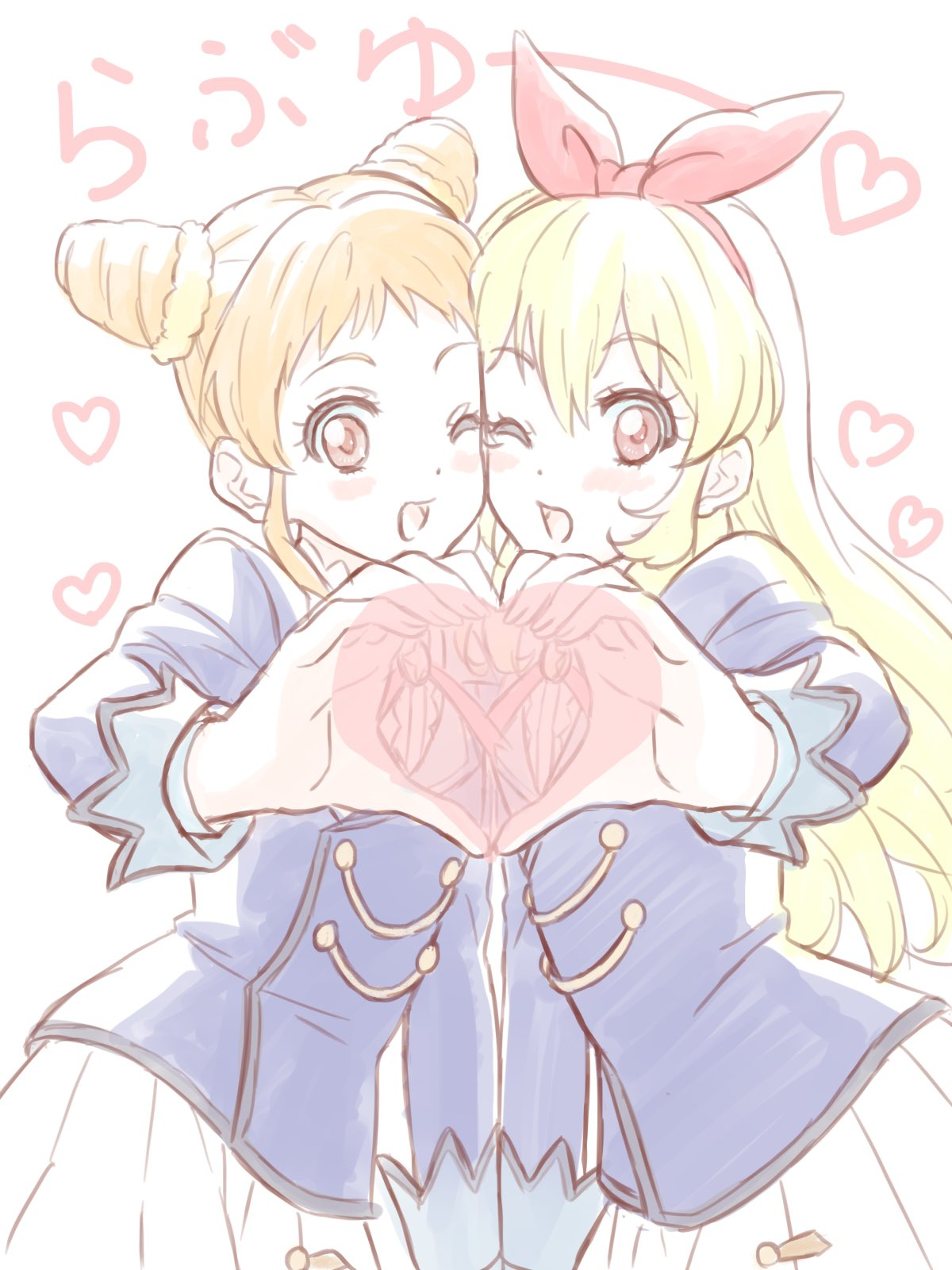 2girls :d aikatsu! aikatsu!_(series) blonde_hair blush bow character_request commentary_request hair_bow hair_ribbon hairband heart heart_hands highres hoshimiya_ichigo hyakuen_raitaa long_hair looking_at_viewer multiple_girls one_eye_closed open_mouth red_eyes ribbon school_uniform skirt smile