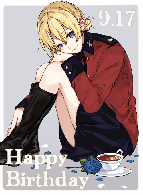 1girl bangs black_footwear black_skirt blonde_hair blue_eyes blue_flower blue_rose boots braid closed_mouth commentary cup darjeeling dated english_text epaulettes eyebrows_visible_through_hair flower girls_und_panzer grey_background happy_birthday jacket knee_boots leg_hug long_sleeves looking_at_viewer military military_uniform miniskirt outside_border petals pleated_skirt red_jacket rose saucer short_hair sitting skirt smile solo st._gloriana's_military_uniform tea teacup tied_hair uniform yuuyu_(777)
