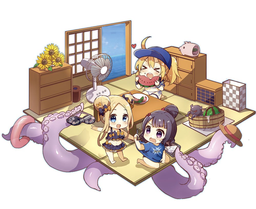 >_< 3girls :d abigail_williams_(fate/grand_order) ahoge animal artoria_pendragon_(all) arts_shirt bangs bare_arms bare_legs bare_shoulders barefoot baseball_cap bikini black_bikini black_bow blonde_hair blue_eyes blue_headwear blue_shirt bow brown_headwear chibi closed_eyes commentary_request day door double_bun drawing_tablet eating electric_fan emerald_float eyebrows_visible_through_hair fate/grand_order fate_(series) flower food fruit hair_bow hair_bun hair_through_headwear hat heart holding holding_food holding_stylus horizon innertube katsushika_hokusai_(fate/grand_order) long_hair multiple_girls mysterious_heroine_xx_(foreigner) ocean octopus open_door open_mouth orange_bow parted_bangs puffy_short_sleeves puffy_sleeves purple_hair seiza shiroi_hakuto shirt short_sleeves shrug_(clothing) side-tie_bikini sidelocks sitting sliding_doors smile soles standing stylus suction_cups sun_hat sunflower swimsuit tentacles tokitarou_(fate/grand_order) v-shaped_eyebrows very_long_hair violet_eyes water watermelon white_background white_bikini wristband yellow_flower