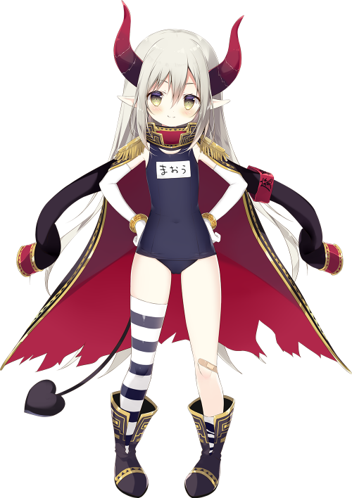 1girl armband asymmetrical_legwear bandaid bangs black_footwear black_jacket blue_swimsuit blush boots brown_eyes closed_mouth covered_navel curled_horns demon_girl demon_horns demon_tail elbow_gloves emma_august epaulettes eyebrows_visible_through_hair full_body gloves grey_hair hair_between_eyes hands_on_hips horns jacket jacket_on_shoulders long_hair long_sleeves name_tag nijisanji official_art old_school_swimsuit one-piece_swimsuit pointy_ears school_swimsuit shiratama_(shiratamaco) simple_background single_thighhigh smile solo standing striped striped_legwear swimsuit tachi-e tail thigh-highs torn_jacket transparent_background very_long_hair virtual_youtuber white_gloves