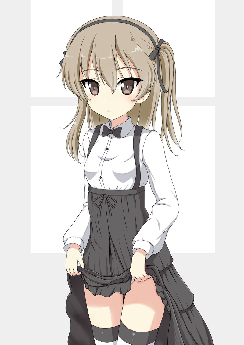 1girl bangs black_bow black_hairband black_neckwear black_skirt blush bow bowtie breasts brown_eyes brown_hair closed_mouth collared_shirt commentary_request dress_shirt eyebrows_visible_through_hair flipper girls_und_panzer hair_between_eyes hair_bow hairband high-waist_skirt lifted_by_self long_hair looking_at_viewer one_side_up panties shimada_arisu shirt skirt skirt_lift small_breasts solo striped striped_legwear suspender_skirt suspenders thigh-highs underwear white_panties white_shirt window