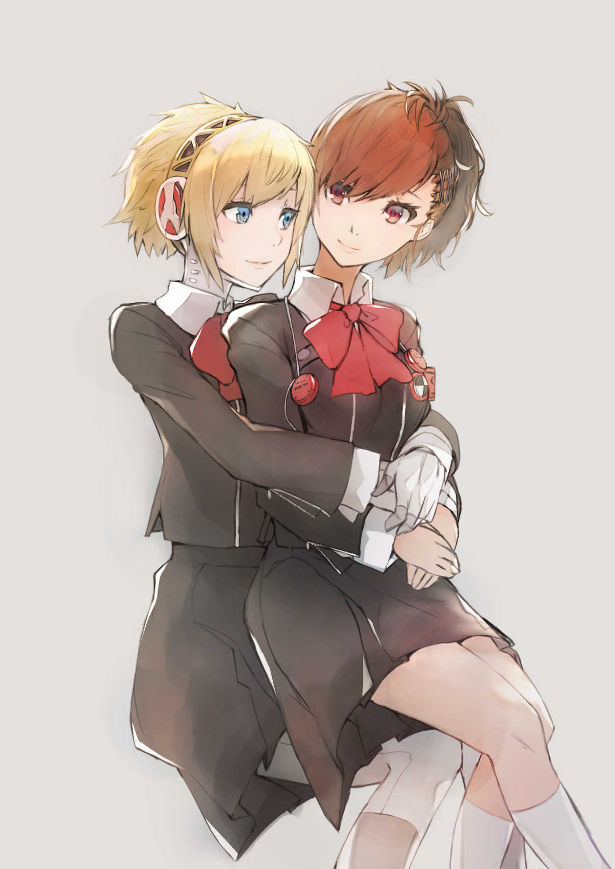 2girls aegis_(persona) bana_(stand_flower) black_jacket black_skirt blonde_hair blue_eyes bow bowtie brown_hair closed_mouth collared_shirt cute female_protagonist_(persona_3) grey_background hairband highres hug hug_from_behind human humanoid_robot invisible_chair jacket kneehighs long_sleeves megami_tensei miniskirt multiple_girls persona persona_3 red_bow red_eyes red_neckwear robot robot_girl shiomi_kotone shirt short_hair simple_background sitting sitting_on_lap sitting_on_person skirt smile tied_hair white_legwear white_shirt wing_collar yuri