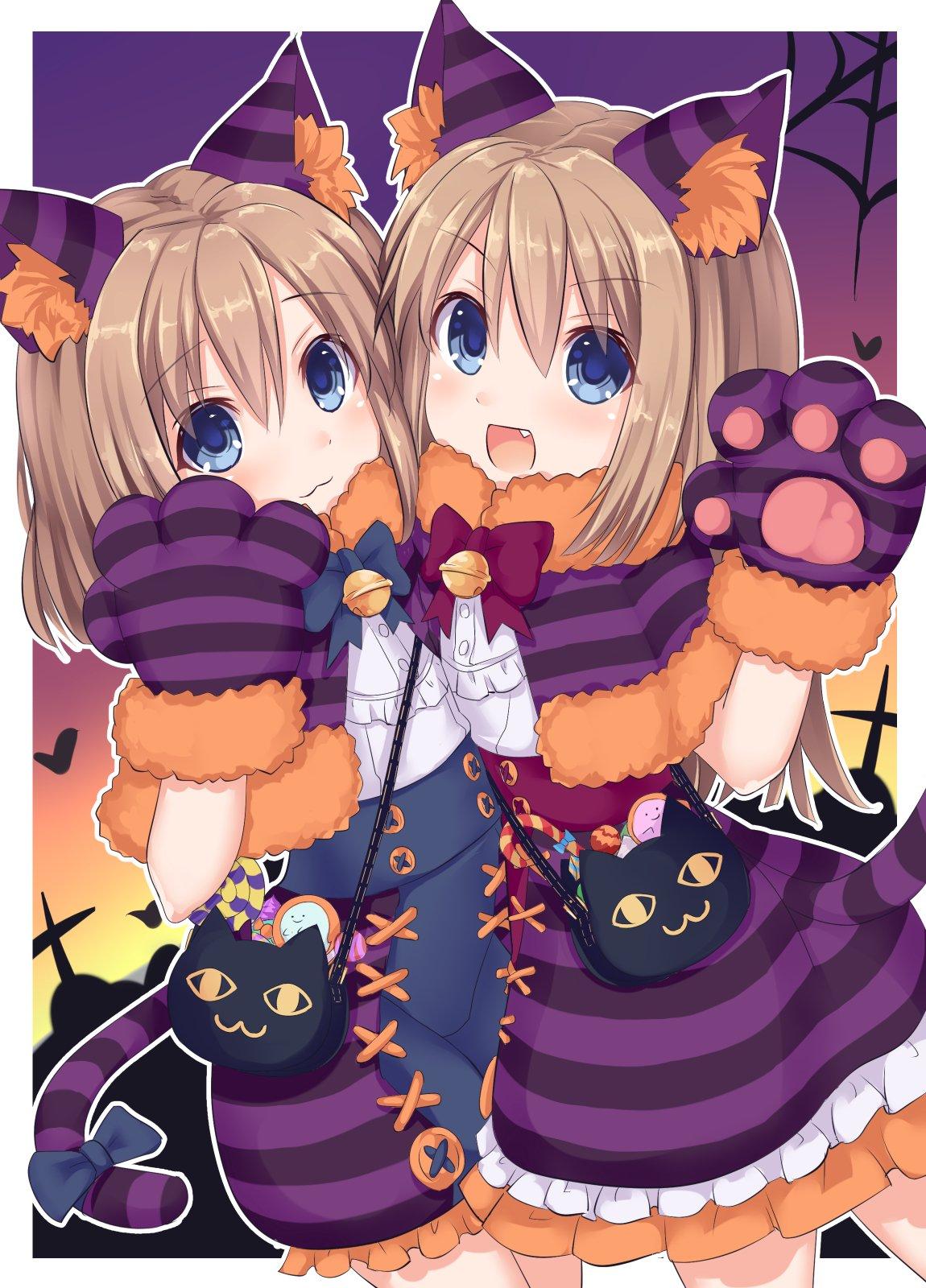 2girls animal_ears black_cat blue_eyes brown_hair candy cat cat_ears cat_paws fang food halloween halloween_costume highres kazuneko_(wktk1024) multiple_girls neptune_(series) paws purple_skirt ram_(neptune_series) rom_(neptune_series) siblings skirt striped twins