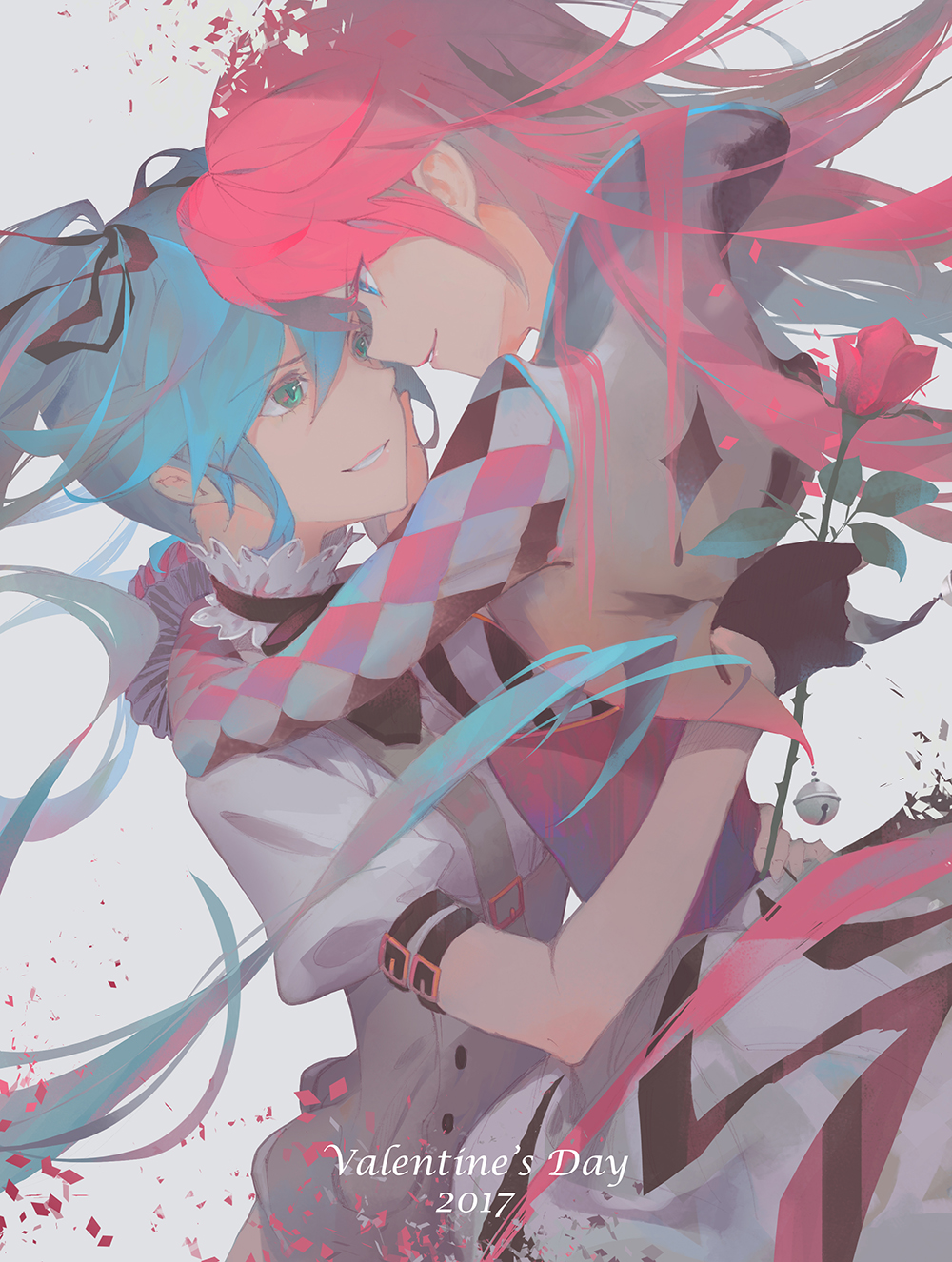 2017 2girls aqua_hair argyle_sleeves arms_around_back arms_around_neck bell black_ribbon blue_eyes buttons carrying collar commentary dress edakai flower forehead-to-forehead frilled_collar frills green_eyes hair_ribbon hatsune_miku highres holding holding_flower jacket lipstick long_hair looking_at_another makeup megurine_luka multiple_girls open_mouth pink_hair puffy_sleeves ribbon rose short_sleeves smile straight_hair twintails valentine very_long_hair vocaloid white_dress yuri