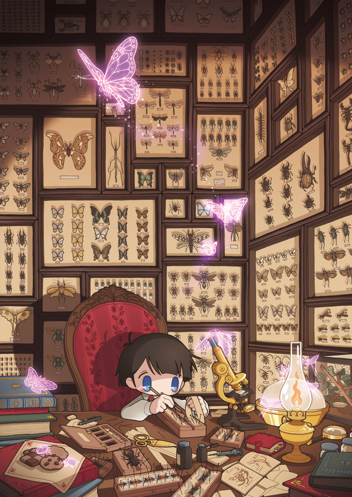 1boy ant arachnid beetle blue_eyes book book_stack book_strap bottle branch bug butterfly centipede chair cicada commentary_request cookie dragonfly eraser food framed_insect glowing_butterfly grasshopper insect kerosene_lamp lamp long_sleeves magnifying_glass mantis microscope millipen_(medium) moth nail note open_book original outstretched_arms painting_(object) paper pencil scissors scorpion shadow shirt sitting solo table traditional_media transparent transparent_butterfly white_shirt working wrapper yamori_511