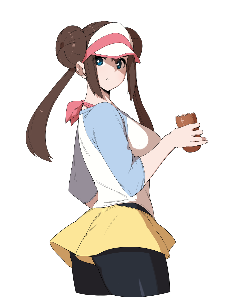 1girl black_legwear blue_eyes bread breasts brown_hair cowboy_shot creatures_(company) cropped_legs double_bun eating food from_side game_freak hair_bun highres looking_at_viewer low_twintails mei_(pokemon) nintendo olm_digital pantyhose pokemon pokemon_(anime) pokemon_(game) pokemon_bw2 shirt short_shorts shorts simple_background sungpark twintails visor_cap white_background yellow_shorts