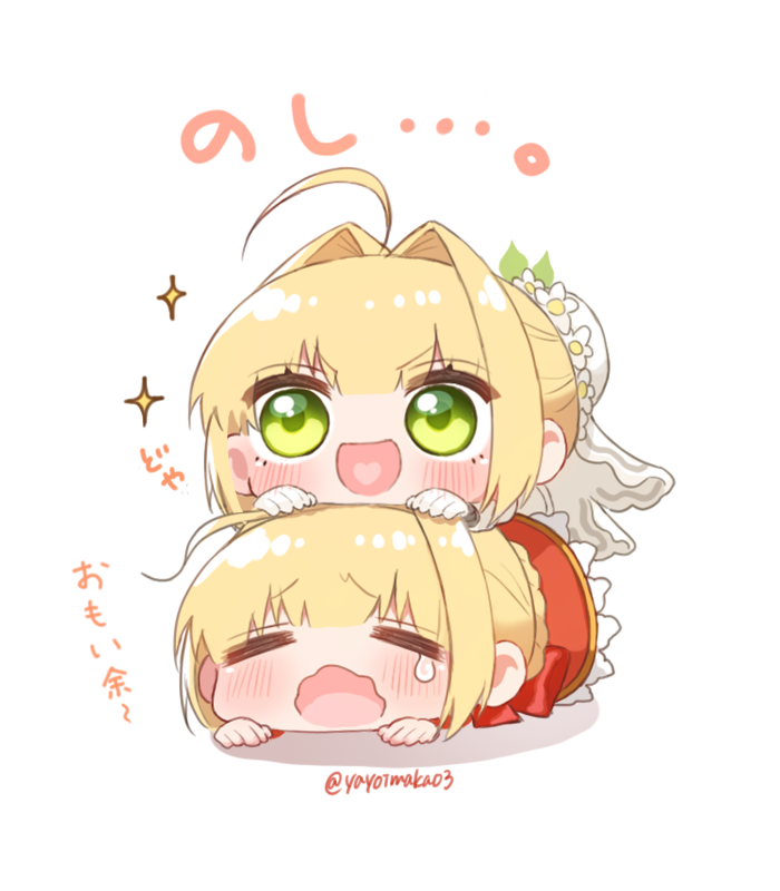 2girls :d =_= bangs blonde_hair blush bow braid bun_cover chibi closed_eyes dress eyebrows_visible_through_hair fate/extra fate/extra_ccc fate_(series) flower girl_on_top gloves green_eyes hair_bun hair_intakes heart heart_in_mouth lying multiple_girls nero_claudius_(bride)_(fate) nero_claudius_(fate) nero_claudius_(fate)_(all) on_stomach open_mouth red_bow red_dress shadow sidelocks smile sparkle tears translation_request twitter_username wavy_mouth white_background white_flower white_gloves yayoimaka03