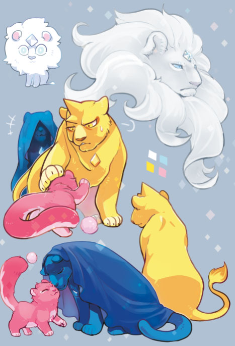 animal animalization blue_diamond_(steven_universe) cloak closed_eyes closed_mouth covered_eyes cub facing_away fenman forehead_jewel grey_background hair_over_eyes lion looking_at_another no_humans nuzzle petting pink_diamond_(steven_universe) reaching sitting standing steven_universe white_diamond_(steven_universe) yellow_diamond_(steven_universe)