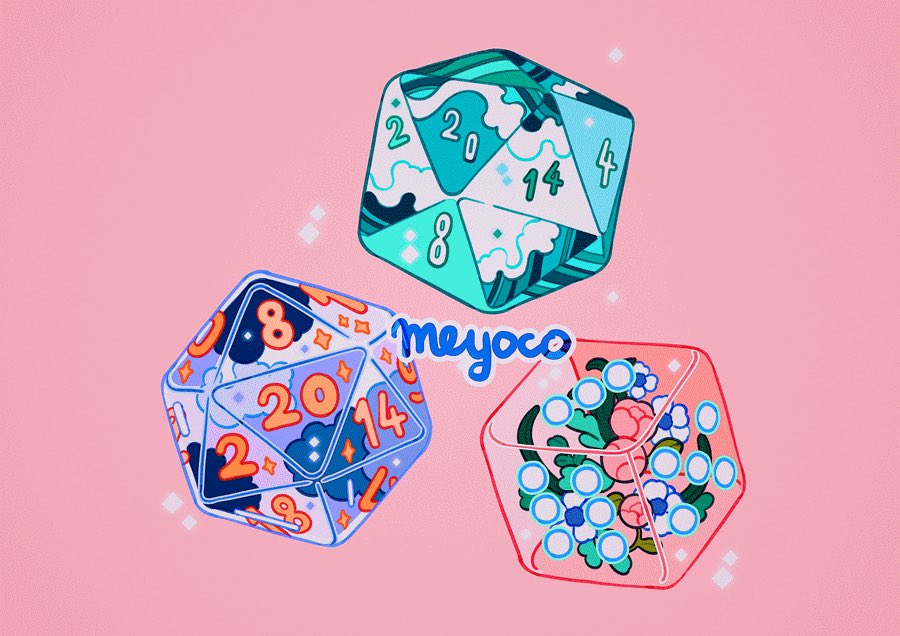 artist_name clouds cube dice flower icosahedron meyoco no_humans number original pink_background pink_flower simple_background sparkle wave_print waves white_flower
