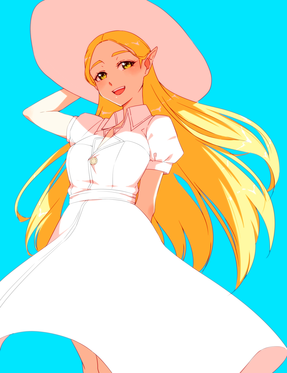 1girl :d arm_behind_back arm_up bangs blonde_hair blue_background blush breasts collared_dress dress feet_out_of_frame green_eyes hand_on_headwear hat highres long_hair looking_at_viewer medium_breasts open_mouth parted_bangs pointy_ears princess_zelda saiba_(henrietta) short_sleeves simple_background smile solo standing straight_hair sun_hat the_legend_of_zelda the_legend_of_zelda:_breath_of_the_wild upper_teeth very_long_hair white_dress white_headwear
