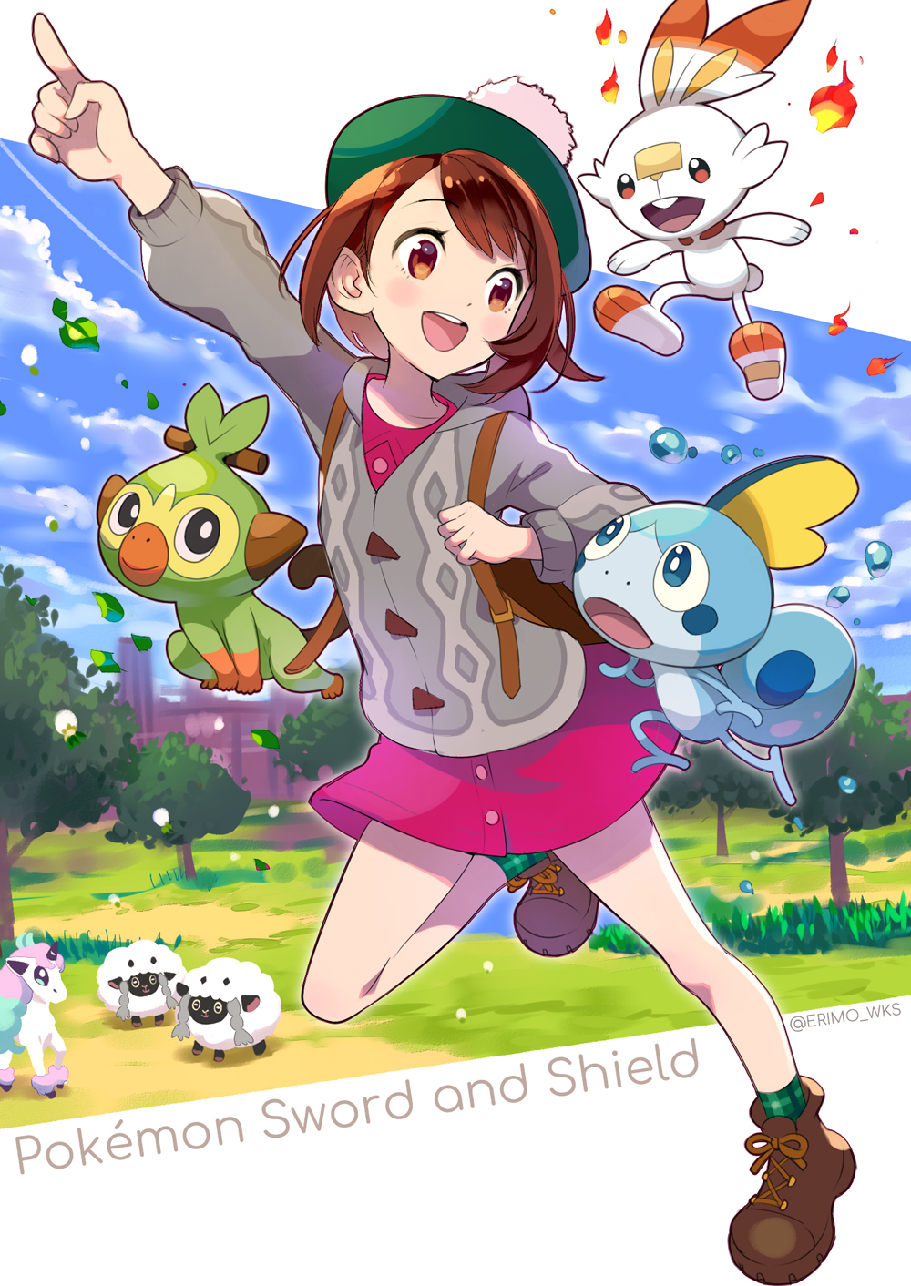1girl :d arm_up backpack bag bangs blue_sky blush boots brown_eyes brown_footwear brown_hair building cardigan clouds cloudy_sky collared_dress commentary_request copyright_name day dress eyebrows_visible_through_hair female_protagonist_(pokemon_swsh) fire galarian_form galarian_ponyta gen_8_pokemon green_headwear green_legwear grey_cardigan grookey highres holding_strap leaf long_sleeves nishimura_eri open_mouth outstretched_arm pink_dress plaid plaid_legwear pokemon pokemon_(game) pokemon_swsh scorbunny sheep sky smile sobble socks standing standing_on_one_leg tam_o'_shanter tree twitter_username upper_teeth water wooloo