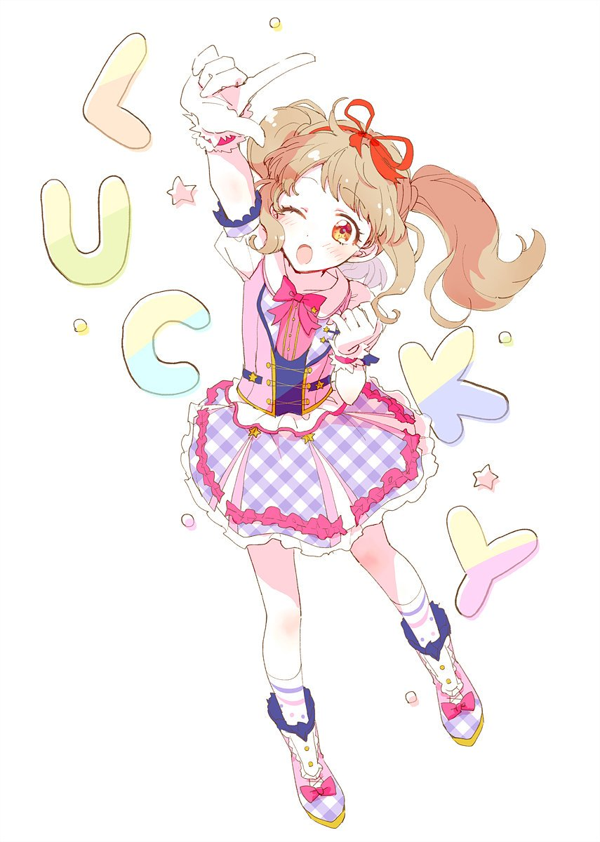 1girl ;o aikatsu!_(series) aikatsu_on_parade! arm_up blush boots brown_eyes catchphrase commentary eyebrows_visible_through_hair from_above full_body gloves hair_ribbon highres idol_clothes kiseki_raki light_brown_hair one_eye_closed open_mouth pointing pointing_up popoin puffy_short_sleeves puffy_sleeves ribbon short_sleeves sidelocks simple_background skirt socks solo star twintails white_background