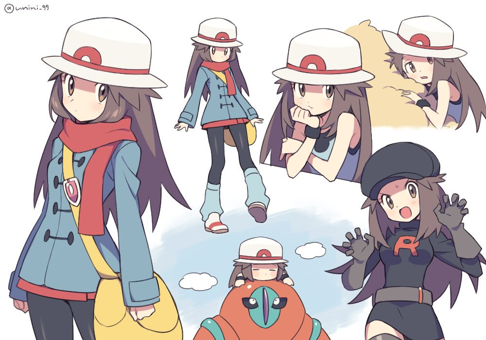 1girl agata_(agatha) alternate_costume arms_at_sides bag bare_shoulders belt black_dress black_gloves black_headwear black_legwear blue_(pokemon) blue_coat breasts brown_eyes brown_hair cabbie_hat claw_pose clouds cowboy_shot deoxys dress elbow_gloves full_body gen_3_pokemon gloves hand_on_own_cheek hand_on_own_chin hat leg_warmers long_sleeves looking_at_viewer miniskirt multiple_views pantyhose pokemon pokemon_(creature) pokemon_(game) pokemon_frlg porkpie_hat red_scarf red_skirt scarf shoulder_bag skirt small_breasts standing tank_top team_rocket_uniform twitter_username v-shaped_eyebrows vs_seeker white_background white_headwear