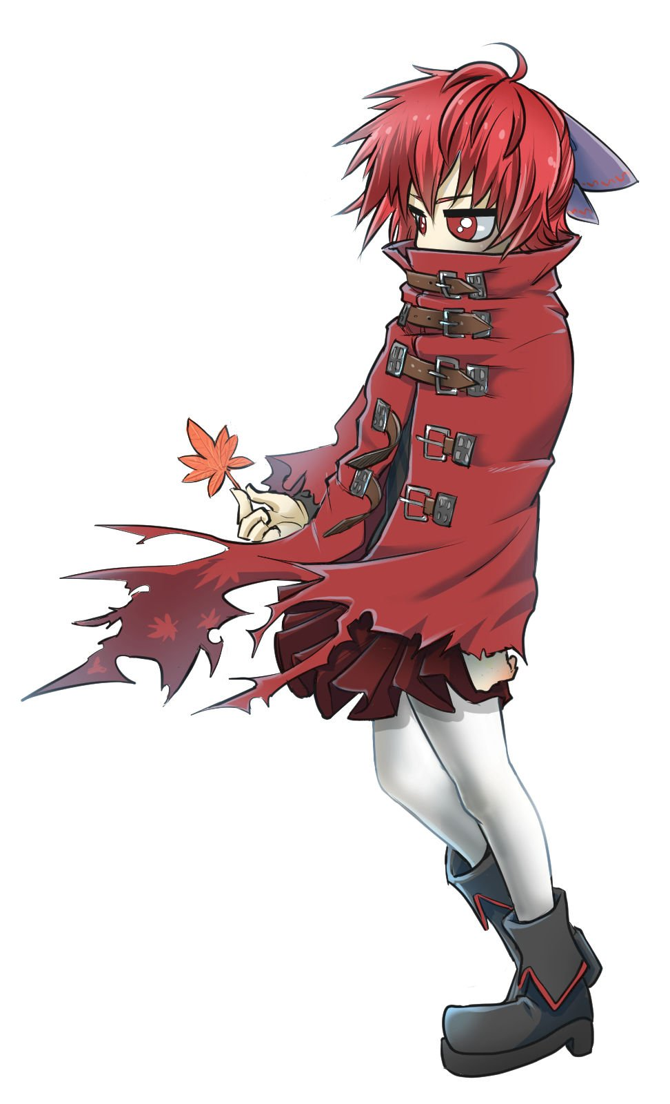 1girl ahoge belt belt_buckle boots bow buckle cape chamaji clenched_hand covered_mouth full_body hair_between_eyes hair_bow highres holding holding_leaf jitome leaf pantyhose red_eyes red_skirt redhead sekibanki short_hair simple_background skirt solo torn_cape torn_clothes touhou unbuckled_belt white_background white_legwear