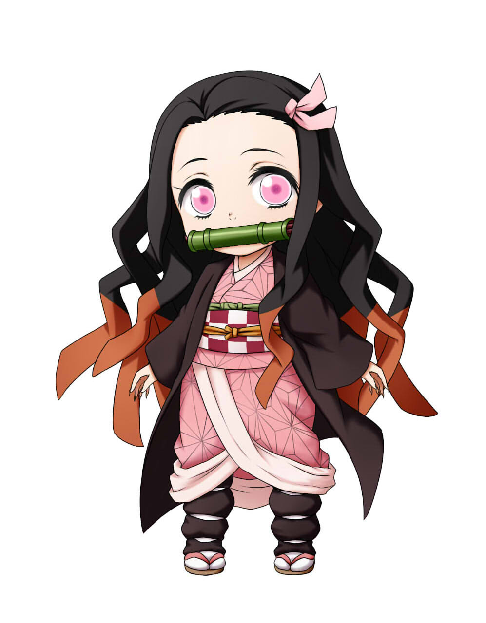 1girl bamboo bangs bit_gag black_hair brown_footwear brown_hair checkered chibi commentary_request fingernails forehead full_body gag hair_ribbon highres japanese_clothes kamado_nezuko kimetsu_no_yaiba kimono kuena long_fingernails long_hair long_sleeves looking_at_viewer mouth_hold multicolored_hair obi open_clothes parted_bangs pink_eyes pink_kimono pink_ribbon ribbon sash sharp_fingernails simple_background sleeves_past_wrists solo standing two-tone_hair very_long_hair white_background white_legwear wide_sleeves zouri