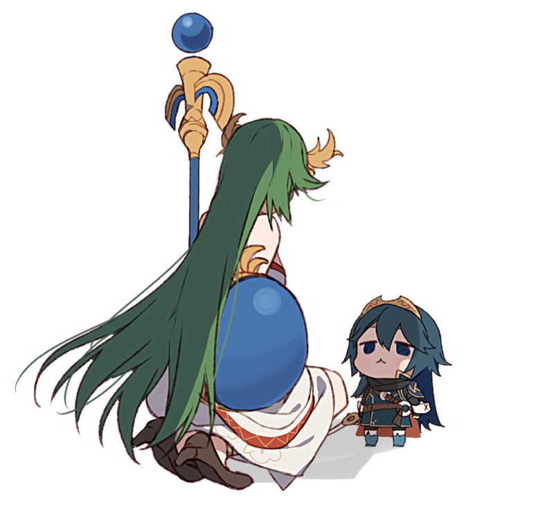 10s 2012 2girls bare_shoulders belt blue_eyes blue_hair cape chibi cute dress falchion_(fire_emblem) fire_emblem fire_emblem:_kakusei fire_emblem_awakening goddess green_hair hair_ornament height_difference human intelligent_systems kid_icarus kid_icarus_uprising kneeling long_hair looking_down looking_up lucina_(fire_emblem) multiple_girls nintendo nintendo_ead palutena palutena_no_kagami ryon_(ryonhei) sandals shadow shield shin_hikari_shinwa:_palutena_no_kagami simple_background sora_(company) staff super_smash_bros. super_smash_bros._ultimate super_smash_bros_for_wii_u_and_3ds sword tiara very_long_hair weapon white_background white_dress year_connection