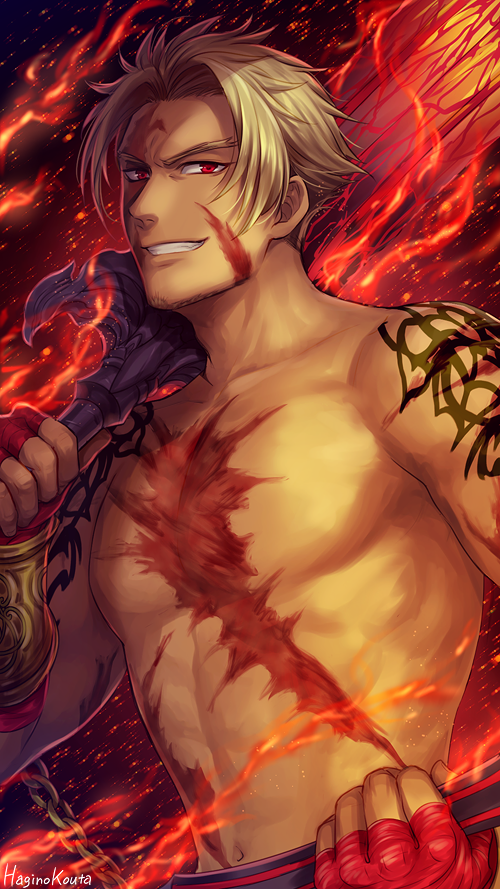 1boy abs arm_tattoo artist_name bangs beard beowulf_(fate/grand_order) blonde_hair chain chest_scar facial_hair facial_scar fate/grand_order fate_(series) fingerless_gloves fire flaming_sword forehead_scar gloves grin hagino_kouta holding holding_sword holding_weapon looking_at_viewer male_focus muscle navel parted_bangs red_eyes red_gloves scar scar_on_cheek shirtless signature smile solo sword tattoo upper_body v-shaped_eyebrows weapon