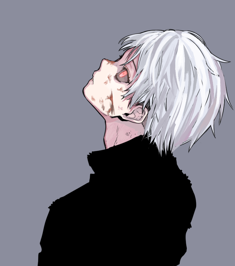 1boy back black_sclera blood blood_on_face grey_background hanjo injury kaneki_ken looking_up male_focus parted_lips red_eyes scratches simple_background solo tokyo_ghoul white_hair