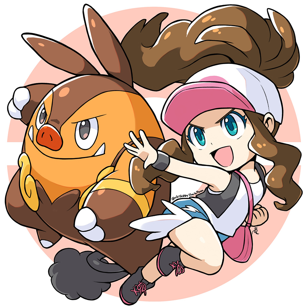 1girl baseball_cap blue_eyes brown_hair chibi full_body gen_5_pokemon hat open_mouth peron_(niki2ki884) pignite pink_handbag poke_ball_symbol pokemon pokemon_(game) pokemon_bw pokemon_masters ponytail shirt short_shorts shorts signature sleeveless sleeveless_shirt smile touko_(pokemon) vest wristband