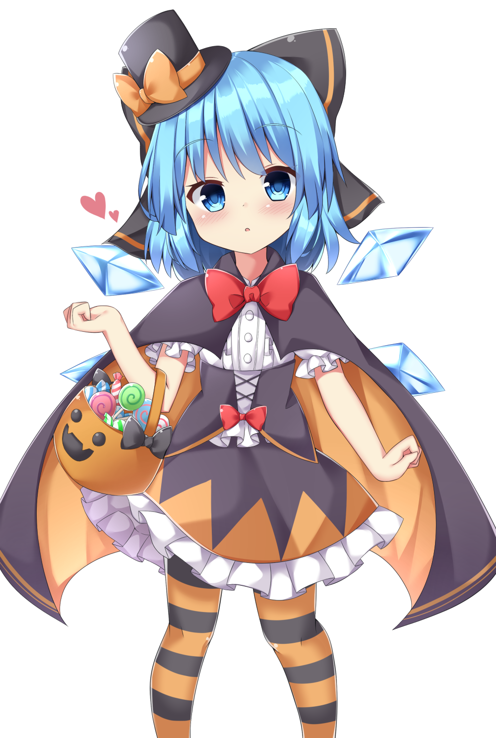 1girl adapted_costume blue_eyes blue_hair blush bow bowtie candy cape cirno corset detached_wings food frilled_shirt frilled_skirt frills hair_bow halloween halloween_basket halloween_costume hat heart highres ice ice_wings kuraaken large_bow looking_at_viewer open_mouth pantyhose shirt simple_background skirt solo striped striped_legwear top_hat touhou white_background wings