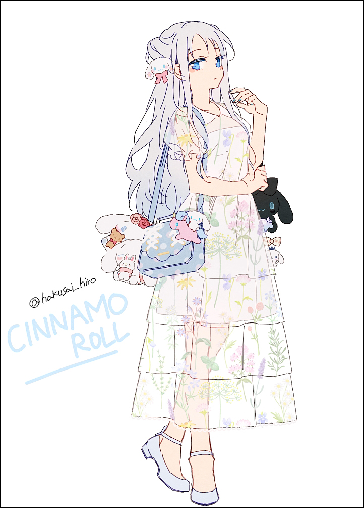 1girl bag bangs blue_eyes blue_nails breasts closed_mouth collared_dress dress eyebrows_visible_through_hair floral_print full_body grey_hair hakusai_(tiahszld) hand_up long_hair looking_at_viewer nail_polish original print_dress puffy_short_sleeves puffy_sleeves see-through see-through_sleeves shoes short_sleeves shoulder_bag small_breasts solo standing twitter_username very_long_hair white_background white_dress white_footwear
