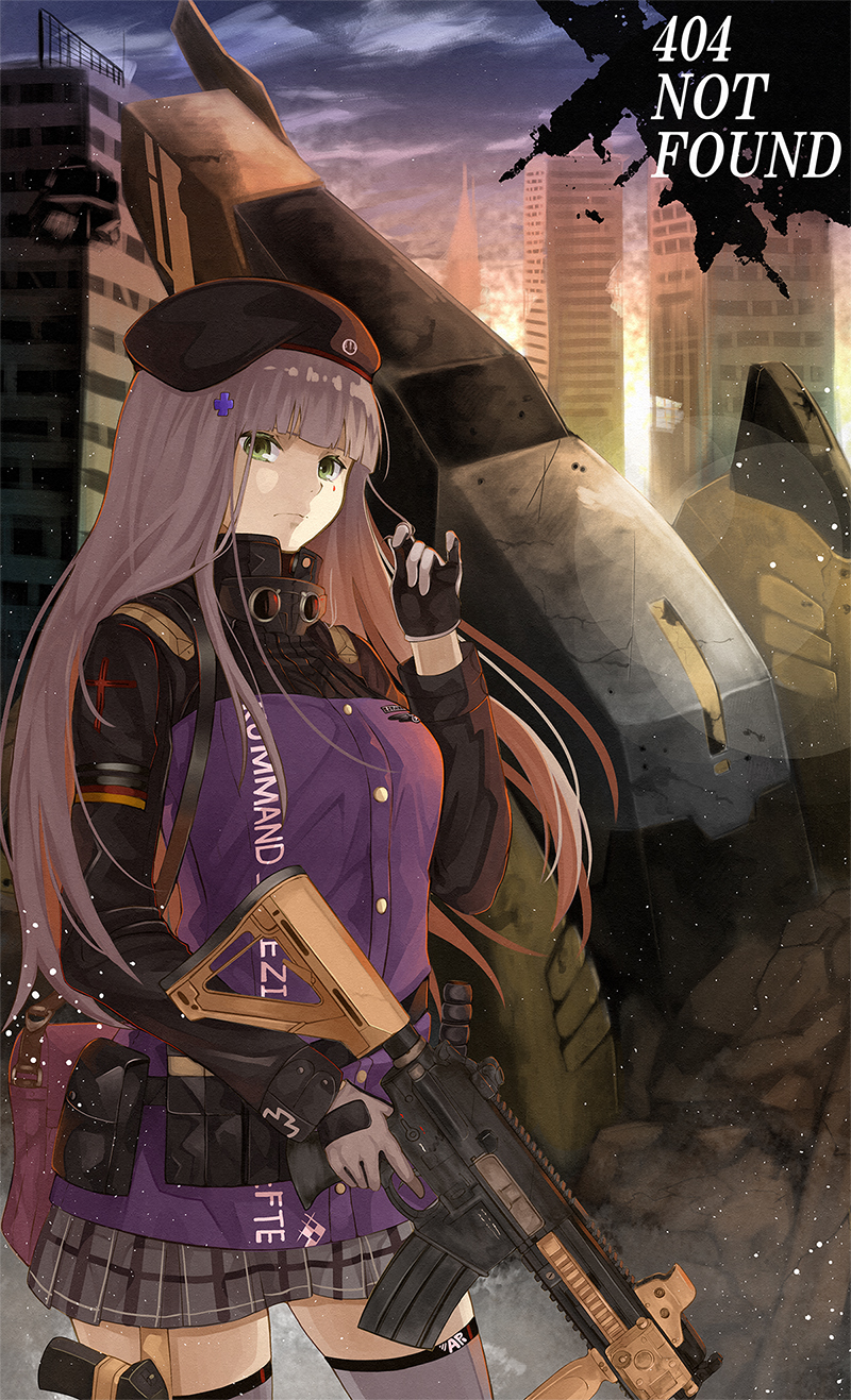 1girl assault_rifle bag beret black_headwear building closed_mouth commentary_request english_text girls_frontline gloves green_eyes gun h&k_hk416 hair_twirling hat highres hk416_(girls_frontline) holding holding_gun holding_weapon lavender_hair long_hair numazume outdoors plaid plaid_skirt pleated_skirt rifle skirt solo standing thigh-highs trigger_discipline vehicle very_long_hair weapon