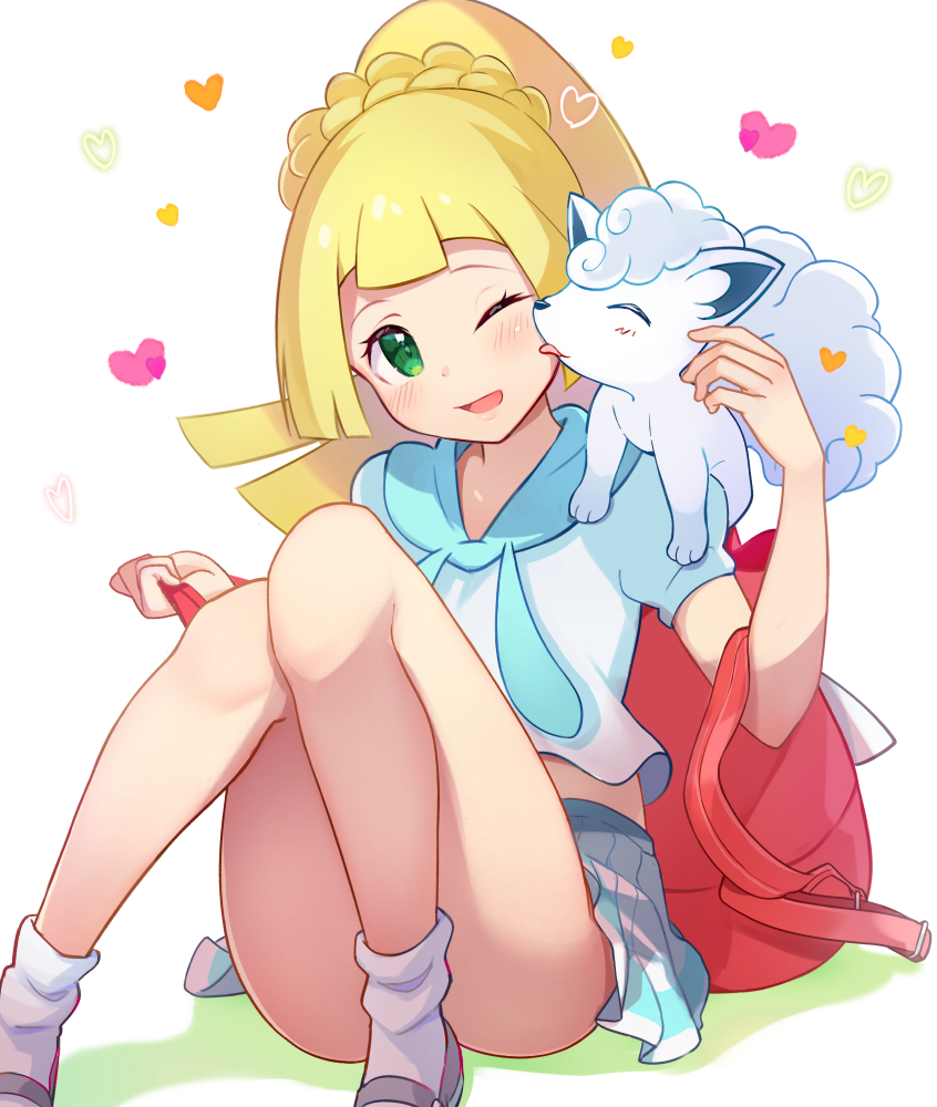 1girl ;d alolan_form alolan_vulpix backpack bag blonde_hair blush braid brat cheek_licking colored_shadow commentary_request face_licking gen_7_pokemon green_eyes grey_footwear heart high_ponytail holding_strap knees_together_feet_apart knees_up licking lillie_(pokemon) loafers long_hair on_shoulder one_eye_closed open_mouth pleated_skirt pokemon pokemon_(creature) pokemon_(game) pokemon_sm ponytail puffy_short_sleeves puffy_sleeves shadow shirt shoes short_sleeves skirt smile socks white_background white_legwear white_shirt white_skirt