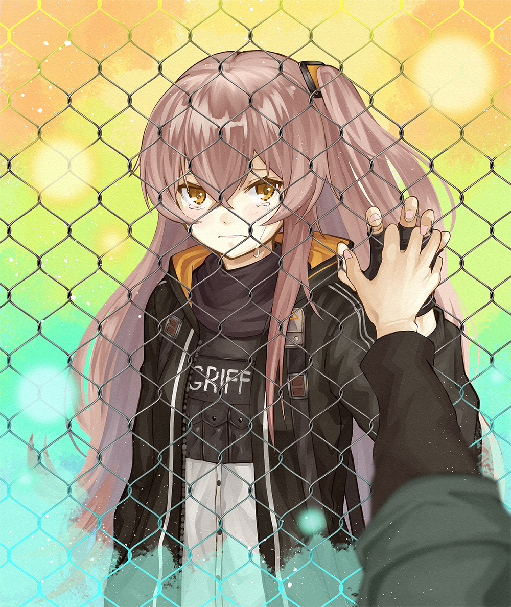 1girl black_gloves black_jacket brown_eyes brown_hair chain-link_fence closed_mouth commentary_request fence fingerless_gloves frown girls_frontline gloves hair_between_eyes holding_hands jacket long_hair looking_at_viewer multicolored multicolored_background numazume one_side_up open_clothes open_jacket scar scar_across_eye solo_focus ump45_(girls_frontline) very_long_hair