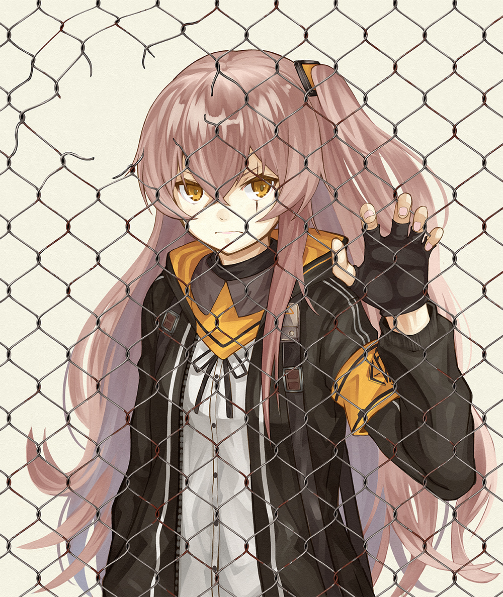 1girl armband black_gloves black_jacket broken_fence brown_eyes brown_hair chain-link_fence closed_mouth fence fingerless_gloves frown girls_frontline gloves grey_background holding_hands jacket long_hair looking_at_viewer numazume one_side_up open_clothes open_jacket scar scar_across_eye simple_background solo ump45_(girls_frontline) very_long_hair