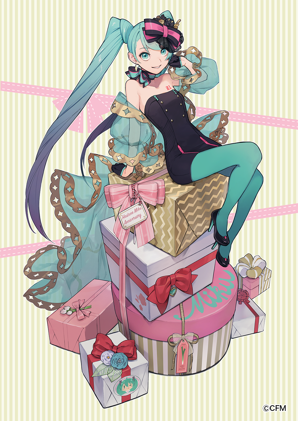 1girl :d anniversary aqua_eyes aqua_flower aqua_hair aqua_legwear aqua_neckwear aqua_ribbon arm_support bare_shoulders black_bow black_dress black_footwear black_gloves bow box breasts character_name character_print choker commentary_request dress earrings flower gift gift_box gloves gradient_hair hair_bow half_gloves hatsune_miku high_heels highres iwato1712 jewelry knee_up leaning_back long_hair looking_at_viewer multicolored_hair number open_mouth pantyhose pink_bow platform_footwear puffy_sleeves purple_flower ribbon ribbon_choker see-through short_dress sitting small_breasts smile solo stacking strapless strapless_dress striped striped_background twintails two-tone_bow two-tone_hair vertical-striped_background vertical_stripes very_long_hair vocaloid white_flower