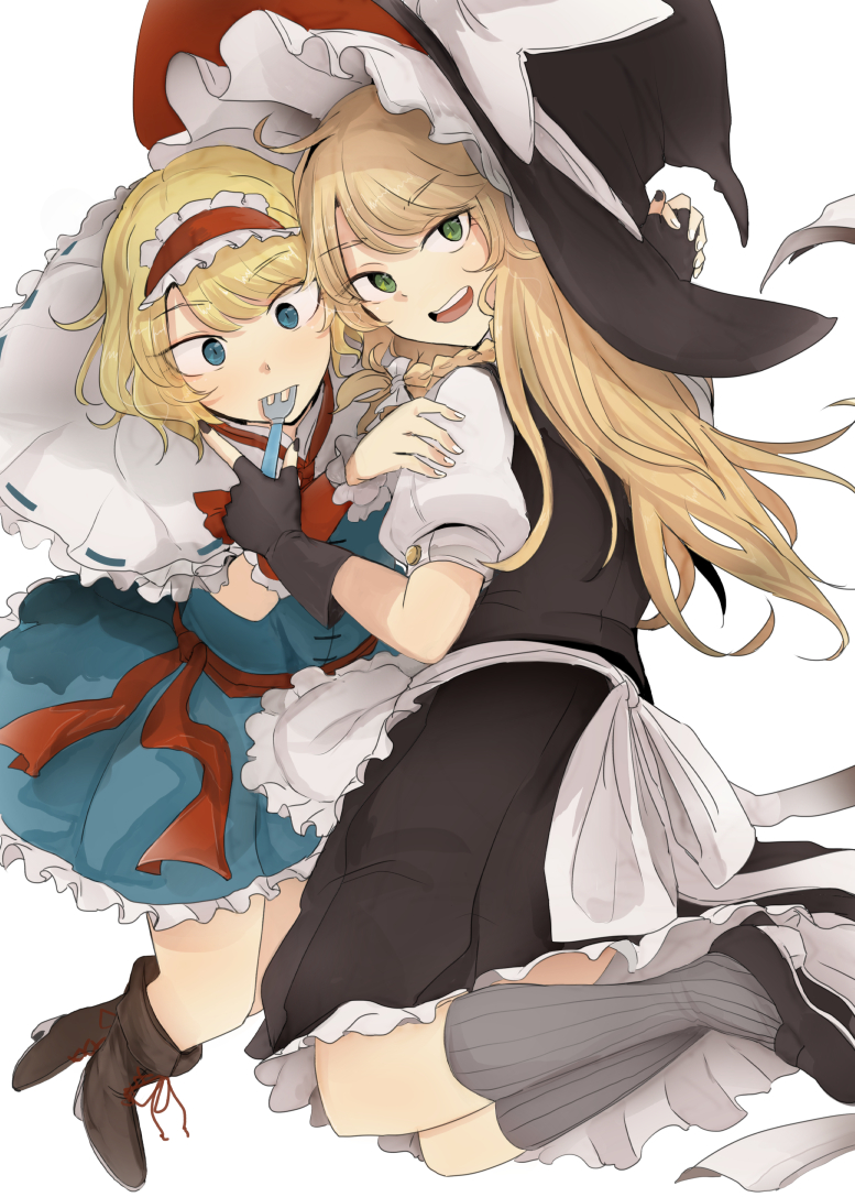 2girls alice_margatroid apron bangs black_footwear black_gloves black_headwear black_nails black_skirt black_vest blonde_hair blue_dress blue_eyes blush boots bow braid capelet commentary_request dress eyebrows_visible_through_hair fingerless_gloves fork fork_in_mouth frilled_capelet frilled_dress frilled_hairband frills full_body gloves green_eyes grey_legwear hairband hat hat_bow holding holding_fork holding_hands hug interlocked_fingers kirisame_marisa loafers lolita_hairband long_hair looking_at_viewer looking_back multiple_girls nail_polish ne_kuro open_mouth petticoat puffy_short_sleeves puffy_sleeves red_hairband red_neckwear red_ribbon ribbon sash shoes short_hair short_sleeves simple_background single_braid skirt striped striped_legwear surprised swept_bangs touhou vertical-striped_legwear vertical_stripes vest waist_apron white_background white_bow white_nails witch_hat wrist_cuffs yuri