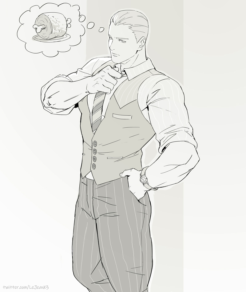 1boy closed_mouth cody_travers final_fight formal monochrome muscle rejean_dubois solo street_fighter street_fighter_v suit watch