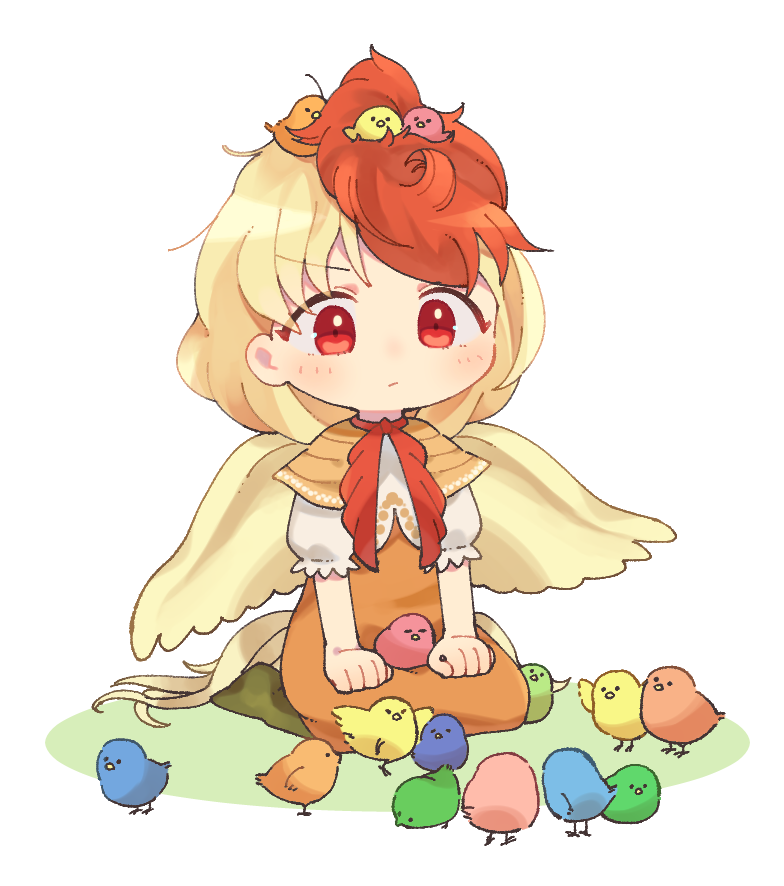 1girl animal animal_on_head animal_on_lap arm_support bangs bird bird_on_head blonde_hair blush capelet chibi chick chicken closed_mouth colorful dress eyebrows_visible_through_hair full_body green_legwear hands_on_lap multicolored_hair niwatari_kutaka on_head orange_dress puffy_short_sleeves puffy_sleeves red_eyes red_neckwear redhead sasa_kichi shiny shiny_hair short_hair short_sleeves simple_background sitting solo tail touhou two-tone_hair wariza white_background wings