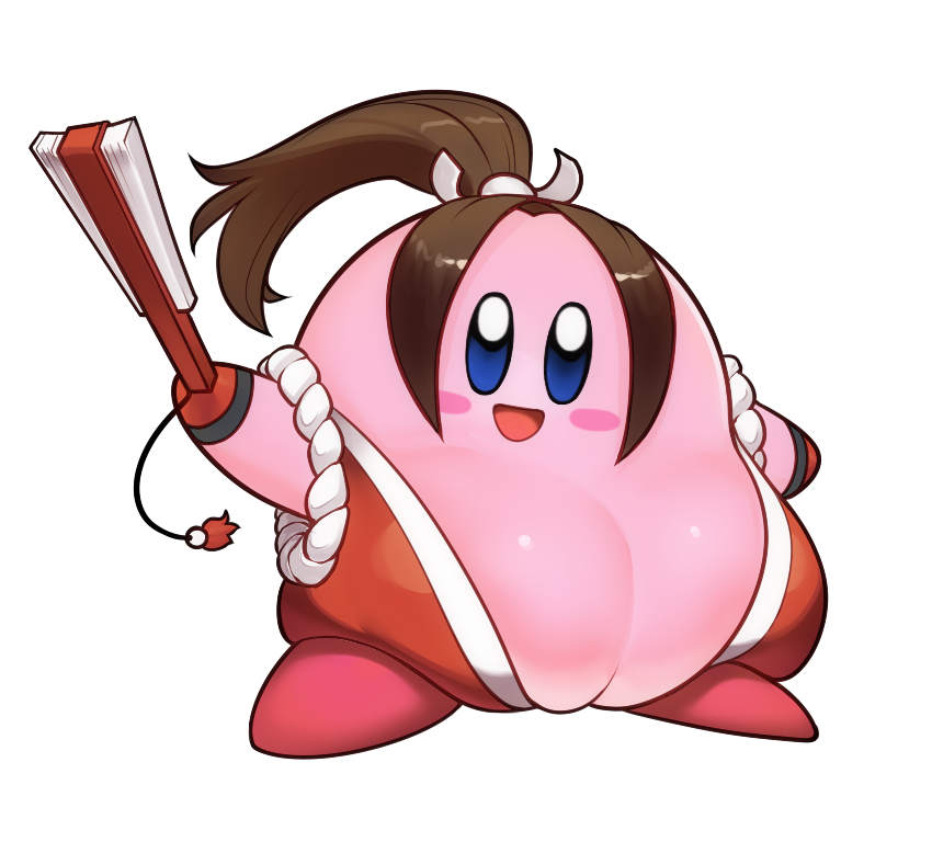 1other :d adorable black_gloves blue_eyes blush_stickers breasts brown_hair commentary copy_ability cosplay fan fatal_fury folding_fan full_body gloves grundelsmoochart hair_ribbon hal_laboratory_inc. holding holding_fan hoshi_no_kirby japanese_clothes kimono kirby kirby_(series) large_breasts long_hair looking_at_viewer male nintendo no_humans open_mouth pink_puff_ball ponytail red_footwear red_kimono ribbon shiranui_mai shiranui_mai_(cosplay) shoes sleeveless sleeveless_kimono smash_is_for_good_boys_and_girls smile snk sora_(company) standing super_smash_bros. tassel the_king_of_fighters transparent_background trap white_ribbon