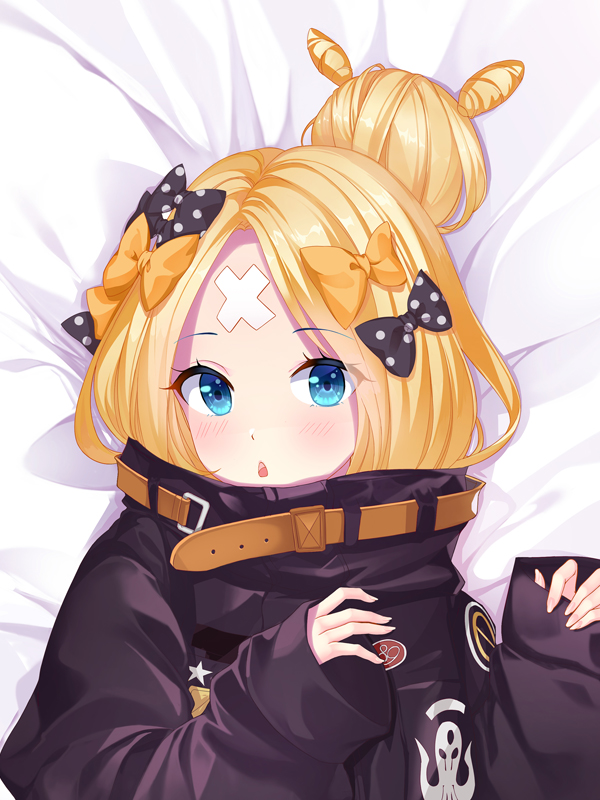 1girl abigail_williams_(fate/grand_order) bakugadou bandaid_on_forehead bangs black_bow black_jacket blonde_hair blue_eyes blush bow breasts crossed_bandaids fate/grand_order fate_(series) forehead hair_bow hair_bun heroic_spirit_traveling_outfit high_collar jacket long_hair looking_at_viewer multiple_bows open_mouth orange_belt orange_bow parted_bangs polka_dot polka_dot_bow sleeves_past_wrists small_breasts solo