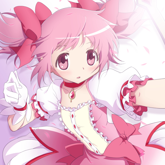 1girl commentary_request dress gloves hair_ribbon kaname_madoka magical_girl mahou_shoujo_madoka_magica medium_hair pink_eyes pink_hair ribbon solo twintails yazwo