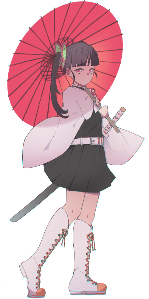 1girl bangs belt belt_buckle black_hair black_jacket black_skirt blunt_bangs boots buckle butterfly_hair_ornament closed_mouth commentary_request cross-laced_footwear eyebrows_visible_through_hair full_body hair_ornament holding holding_umbrella jacket katana kimetsu_no_yaiba knee_boots lace-up_boots long_hair long_sleeves looking_at_viewer oriental_umbrella pink_eyes pleated_skirt redb sheath sheathed side_ponytail simple_background skirt solo standing sword tsuyuri_kanao umbrella weapon white_background white_footwear