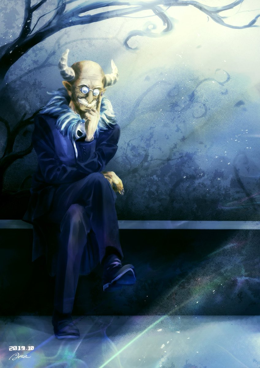 1boy arr_(tuneaut) bald bare_tree buttons commentary crossed_legs dated dress_shoes facial_hair formal full_body fur_collar glasses hand_on_own_face highres horns image_sample mairimashita!_iruma-kun mustache nail_polish old_man plant pointy_ears replaceme round_eyewear shoes signature sitting solo suit sullivan_(mairimashita!_iruma-kun) tree twitter_sample wrinkles